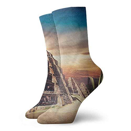 Socks Sports Men Women Mesoamerican,Aztec Pyramid Sunset 3.4