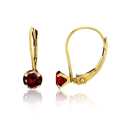 4 Prong Round Martini Earrings - 10K Yellow Gold 4mm Round Garnet Martini Leverback Earring