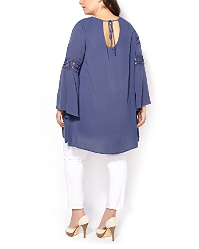 Penningtons Womens Plus Size Long Bell Sleeve Tunic with Crochet Crown Blue 3X