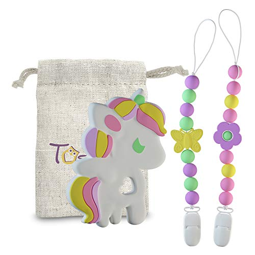 Holder Attachment Lanyard - Baby Infant Unicorn Teething Chew Toy and 2 Pacifier Clips Set By TosiTosi - BPAFree Food Grade Silicone Teether - Durable Holder Clips With Colorful Beads Ideal For Girls - Storage Bag Included