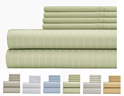 (Weavely Sheet Set - 700 Thread Count Cotton-Poly Blend Bed Sheet, Pin Stripe 6 Piece Bedding Set, Hotel Quality Sheet Set with 2 Extra Pillow Cases, 15 inch Elastic Deep Pocket Fitted Sheet -King-Sage)