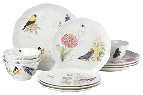 Lenox 883319 Butterfly Meadow Flutter 12 Piece Dinnerware Set, Service for 4