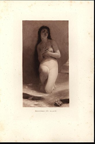 Beautiful Porcelain Skinned Nude Woman 1894 original antique fine art print