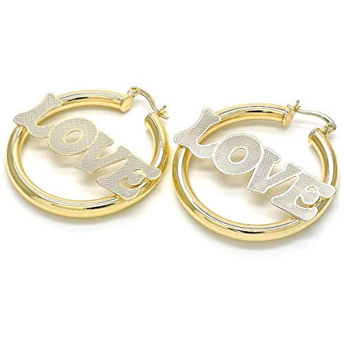 Women's Medium 14K Gold Tone SEXY PRINCESS LOVE AMOR BABY ROYALTY HONEY Nameplate Design Round Click Top Hoop Earrings (LOVE)