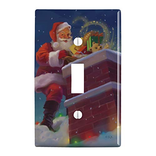 (GRAPHICS & MORE Christmas Holiday Santa Going Down The Chimney Plastic Wall Decor Toggle Light Switch Plate Cover)