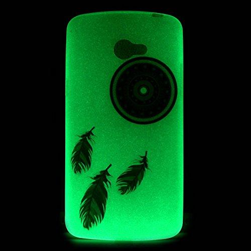 [Extremadamente Delgada] Funda 3D Silicona Transparent para LG K5 , Funda TPU Ultra Slim para LG K5 , TOCASO Case Fina Slim Fit Cristal Clear, Noctilucent Cover Glittering Bling Cute Pattern Colored P Pluma Campanula