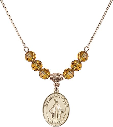 18-Inch Hamilton Gold Plated Necklace with 6mm Topaz Birthstone Beads and Gold Filled Our Lady of Africa Charm. by F A Dumont