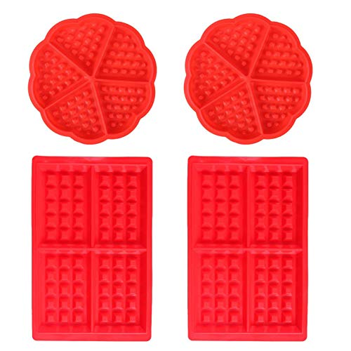 Waffles Baking Mould Silicone - WENTS 4 PCS Muffin Pans Molds Cake Chocolate Pan Kitchen Accessories Heart and Square Red