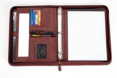Professional Business Padfolio Portfolio Briefcase Style Organizer Folder With Handles Notepad and 3 Ring Binder - Brown Synthetic Leather... Photo #7