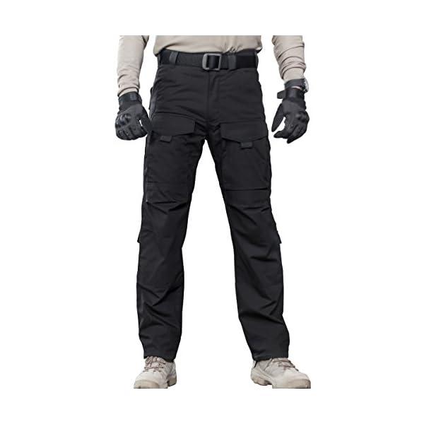 pipigo Mens Casual Plus Size Solid Cotton Elastic Waist Straight Leg Pants Trousers Khaki L