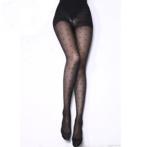 Gofypel Sexy Stockings Thin Polka Pantyhose Tights with Thigh High Waist Printed Stockings Pattern Black Silk Stoking (Heart)