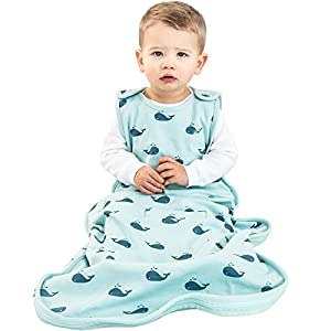 Woolino 4 Season Baby Sleeping Bag, Merino Wool Baby Sleep Sack Gown, 2m-2yrs, Whales