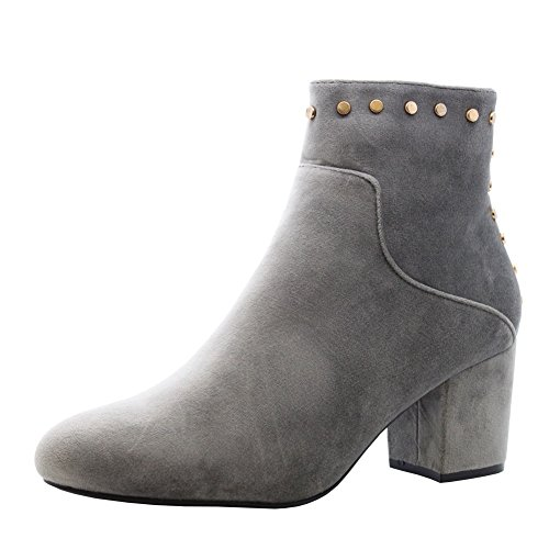 Saute Styles Ladies Womens Mid High Block Heels Casual Buckle Chelsea Ankle Boots Shoes Size 3-8 GREY SUEDE NEW
