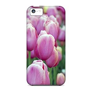 Fashion Protective Pink Tulips Case Cover For Iphone 5c hjbrhga1544