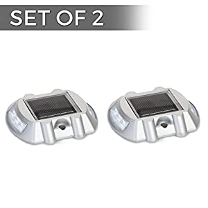 Solar Powered LED Marker Lights- Set of 2- Decorative Aluminum Lamps- Wireless Outdoor Security Light- Garden Decor Accent Lighting- Best for Driveway, Dock, Stairway, Path, Deck, Step, Pool, Patio