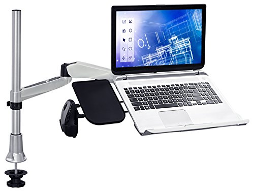 Mount-It! MI-75901 Full Motion Adjustable Height, Articulating, Tilting, Rotating, Desk Table Mount Stand for Laptops and Notebooks with Vented Laptop, Mouse Pad and Holder, Grommet Base, Silver by Mount-It!