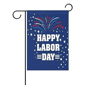 La al azar Happy día de trabajo decorativo jardín bandera Banner Star y fuegos artificiales poliéster 12x 18pulgadas