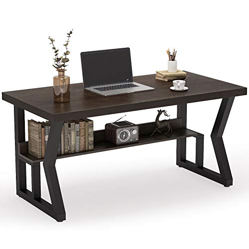 Tribesigns 55 Inches Rustic Solid Wood Computer Desk with Bookshelf, Vintage Industrial Home Office Desk Writing Table with Black Metal Legs (Espresso/Dark Brown)