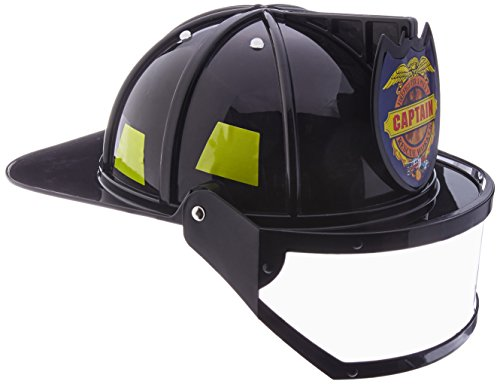 Jacobson Hat Company Men's Plastic Fireman Helmet with Visor, Black, Adult