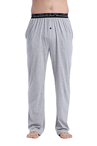 - CYZ Men's 100% Cotton Jersey Knit Pajama Pants Elastic Waistband-Greymelange-M