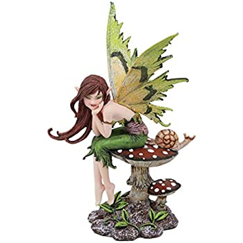 Ebros Amy Brown Forest Willow Thinking of You Fairy Sitting On Wild Giant Toadstool Mushroom with Snail Statue 6.5