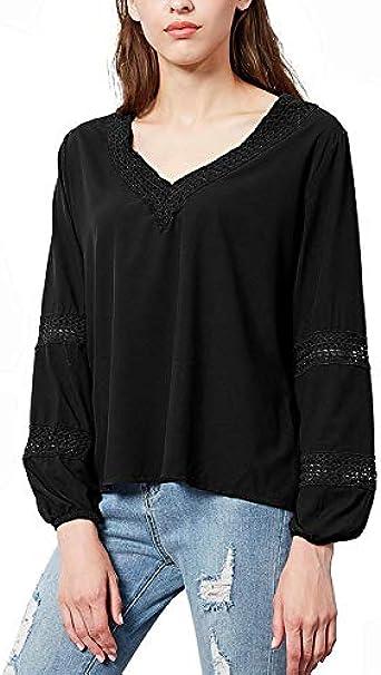 LGWQ Verano y otoño Nueva Camisa Casual de Color sólido para Mujer con Cuello en v Camisa de Manga Larga para Mujer Túnica Casual Tops Camisetas: Amazon.es: Ropa y accesorios