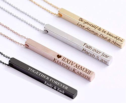 ProJewelry Personalized Vertical Bar Necklace, 4 Sides Dainty Custom Engraved Name Necklace 925 Sterling Silver Customized Jewelry Gift for Women