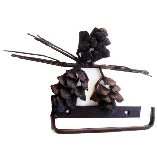 Pine Cone Toilet Paper Holder Wrought Iron Rustic (Pinecone Toilet Tissue Holder)