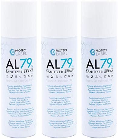 Protect Label Hidroalcohol Spray 3 x 500ml. Higienizante Manos y Superficies 79% Alcohol Aerosol Hidroalcohólico