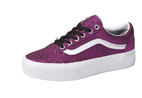 Old Skool Platform Sneaker (7.5 M US Women / 6 M US Men, (Glitter) Wild Aster/True White) ()