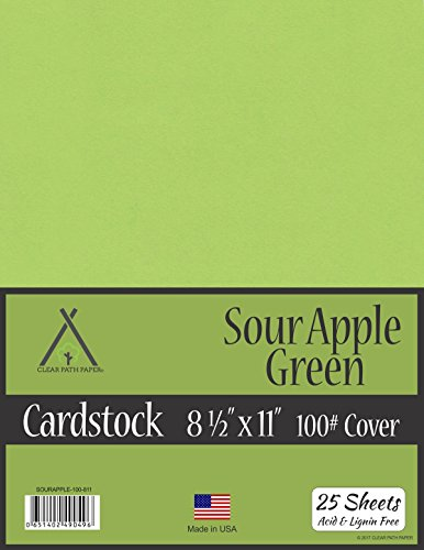 Sour Apple Green Cardstock - 8.5 x 11 inch - 100Lb Cover - 25 Sheets (25 Sheet Cardstock Cardstock)