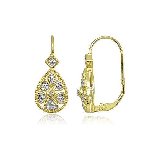 Gold Flash Sterling Silver Diamond Accent Filigree Heart Flower Teardrop Leverback - Leverback Diamond Earrings Flower