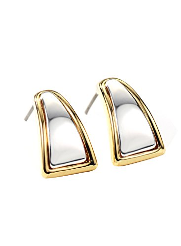 d Silver Color Two Tone Small Hoop Earrings Christmas for Sensitive Ears (Two Tone Small Girl)