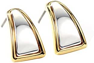 Neoglory Jewelry Gold Silver Color Two Tone Small Hoop Earrings Christmas for Sensitive Ears