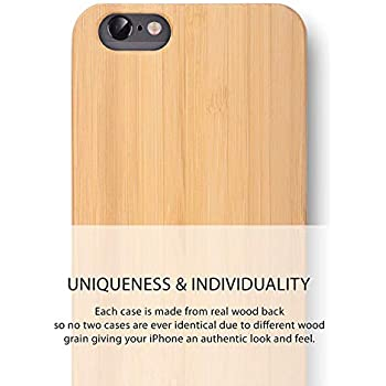 591f8a7bc8 iATO iPhone 6 Plus / 6s Plus Wooden Case - Real Bamboo Wood Grain Premium  Protective Shockproof Slim Back Cover - Unique, Stylish & Classy Snap on  Thin ...