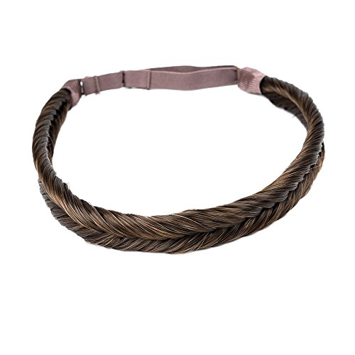 Ty.Hermenlisa Synthetic Hair Fishtail Braided Headband Classic Braids Elastic Stretch Hairpiece Women Beauty accessory,35g Chestnut (Brown Braided Wig)