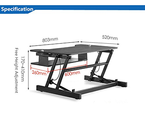 Mophorn Height Adjustable Standing Desk 2 Dual Monitors 31 Inch Wide Sit Stand Desk Riser 88Lbs Capacity Stand Up Desk Converter with Dedicated Keyboard Tray Elevating Desktop Riser Black by Mophorn (Image #3)
