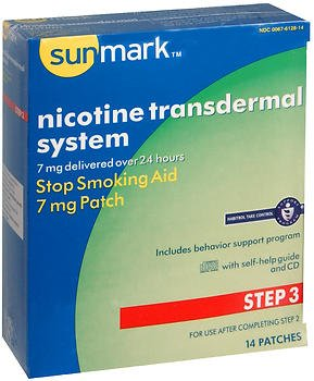 Sunmark Nicotine Transdermal System Step 3 7 Mg Patches   14 Ct