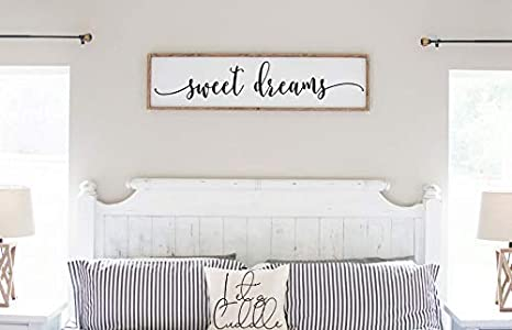 Amazon Com Flowershave357 Sweet Dreams Bedroom Sign Farmhouse Wood Sign Master Bedroom Above Bed Wall Decor Guest Bedroom Framed Wall Art Everything Else