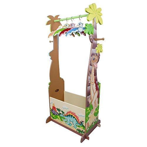 Painted Center (Fantasy Fields - Dinosaur Kingdom Thematic Wooden Dress Up Storage Station with Set of 4 Hangers | Imagination Inspiring Hand Crafted & Hand Painted Details | Non-Toxic, Lead Free Water-based)