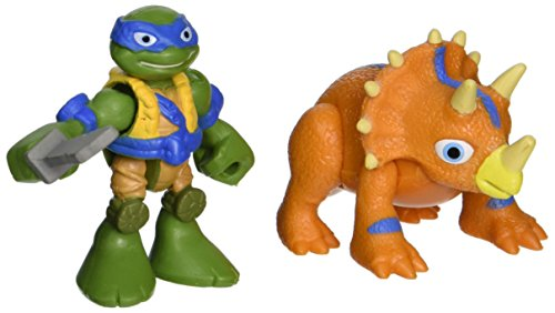 Teenage Mutant Ninja Turtles Pre-Cool Half Shell Heroes Dino Leonardo and Triceratops Figures