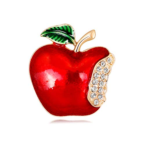YAVONA Teachers' Day Gift Valentine's Day Red Apple Fruit Brooches Pin for Mom Teacher Family Friends (Color - Crystal Brooch Apple