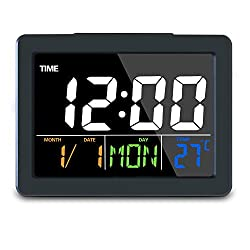 GLOUE Digital Alarm Clock with USB Port for Charging, Snooze Function, Timer, Sound Control Function, 12/24Hr, World time Pattern, Month Date & Temperature Display (Black, 8 Alarm Rings)