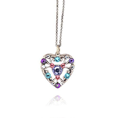Anne Koplik Multicolor Heart Necklace, Silver Plated Pendant, 18