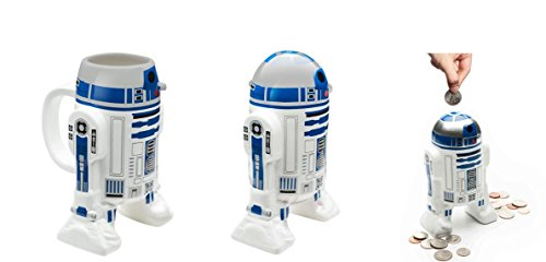 (Star Wars R2D2 Sculpted Coin bank and Coffee Mug Set)