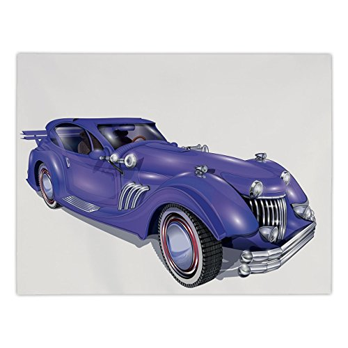 Polyester Rectangular Tablecloth,Cars,Custom Vehicle with Aerodynamic Design for High Speeds Cool Wheels Hood Spoilers Decorative,Violet Blue,Dining Room Kitchen Picnic Table Cloth Cover,for Outdoor I