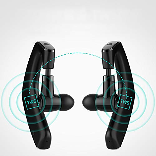 Wireless Bluetooth Double Ear Headsets,Non Bone Conduction Ear Hook TWS Headphones for Cell Phone,Longer Standby Time Single or Dual Earpiece,IPX7 Waterproof, Sweat Proof, Secure-Fit Headset
