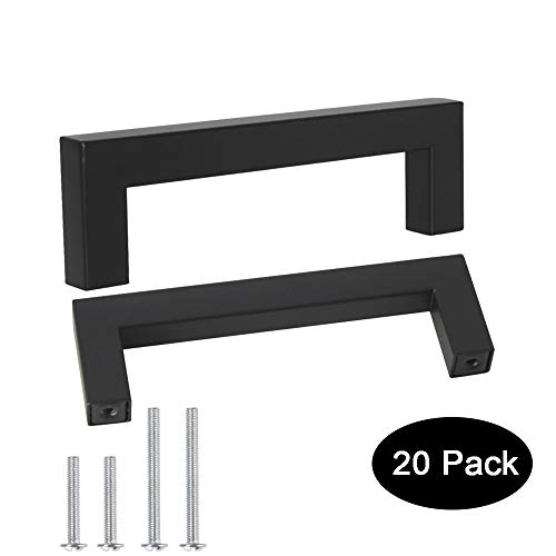 20 Pack Probrico Black Stainless Steel Square Corner Bar Cabinet Door Handles Drawer Pulls Knobs 1/2 in Width Hole Centers 4 inch 102mm ()
