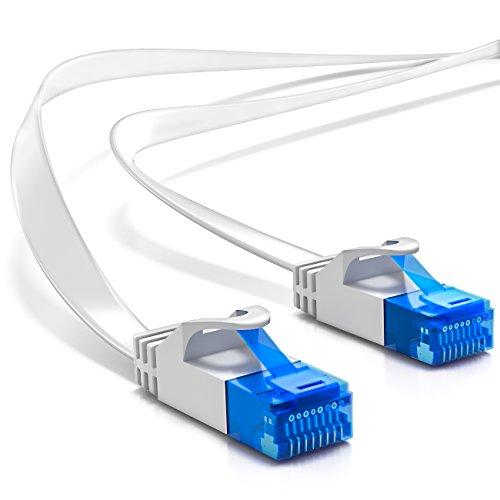 deleyCON 5m CAT-6 Flachkabel Patchkabel Gigabit LAN DSL Netzwerkkabel - Schirmung U/UTP - vergoldete Kontaktflächen - RJ45 Stecker - Weiß