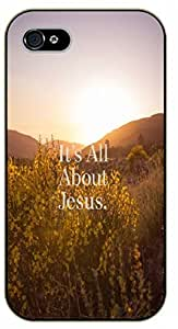 iPhone 5C It's all about Jesus. Forest - black plastic case / Inspirational and motivational Bible verse, biblical, verses